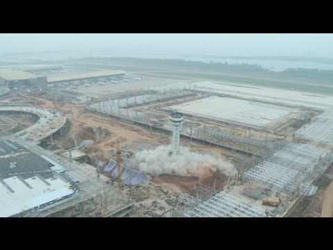Old Control Tower Demolished in Central China's Wuhan Airport