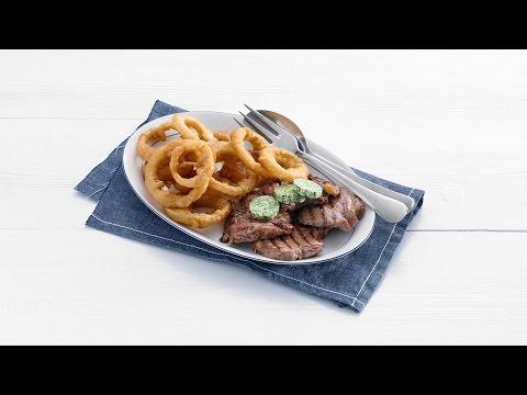 Steak met gefrituurde uienringen - Allerhande