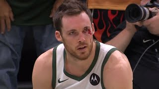 Pat Connaughton can't believe this wasn't a foul... | Bucks vs Nets G4