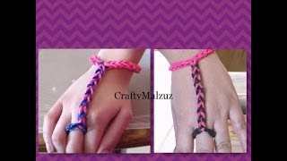 Repeat youtube video Pulsera De Gomitas  Anillo con Pulsera sin telar/ How to make the finger bracelet with rubber bands