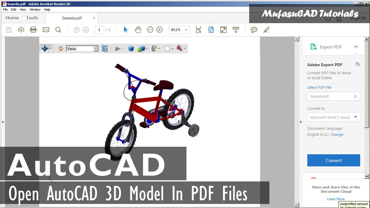 Autocad 3d view in pdf with bentley view youtube for Pdf a cad