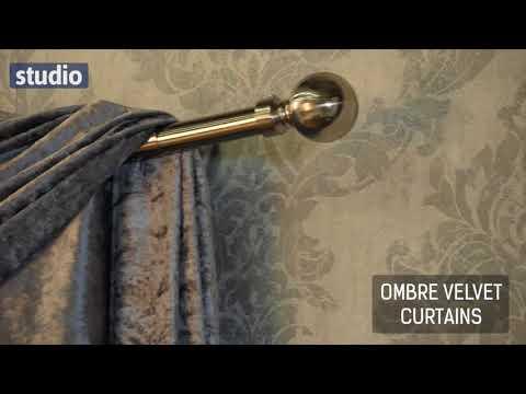 Studio - Ombre Velvet Eyelet Curtains & Scarf Pelmet