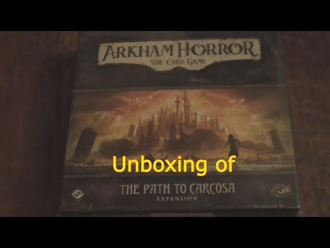 An unboxing of Arkham Horror the card game The Path to Carcosa Expansion