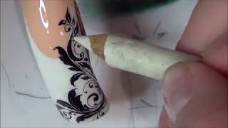 РИСУЕМ вензеля НА НОГТЯХ/вензеля на ногтях/роспись ногтей/дизайн ногтей.