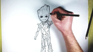 Easy how to Draw Baby Groot from Guardians of the Galaxy Volume 2