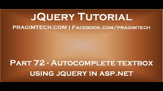 Autocomplete textbox using jquery in asp net