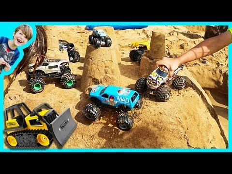 Monster Trucks For Children Battle for Toy Trucks Sand Castle