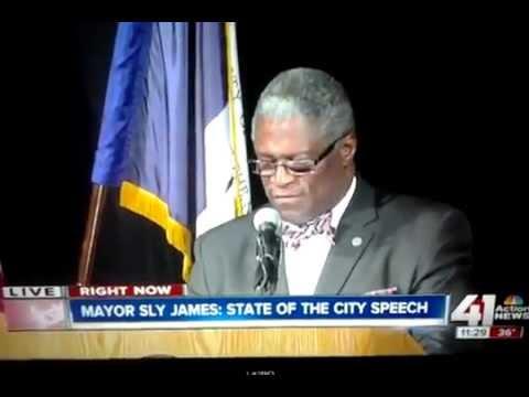 "Kansas City mayor ""Sly James"" speech interrupted"