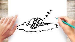 How to Draw Lazy Egg Gudetama Step by Step
