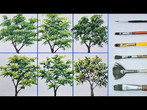 How to Paint Different Trees Using Different Brushes in Basic Acrylic Painting Tutorial