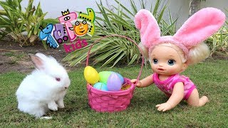 My Baby Alive doll Sara and Ana gathering Eastern Eggs with real Bunnies!!! Bananakids