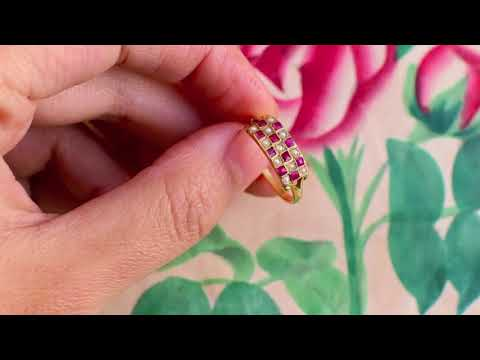 French Napoleon III 18k Gold 'Checkboard' Pave Pearl & Ruby Ring Eagle Mark