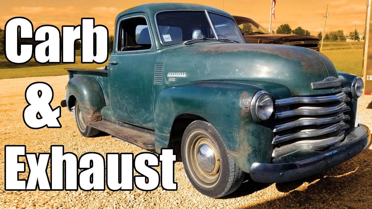 1949 Chevy 5 Window Carburetor And Exhaust Youtube