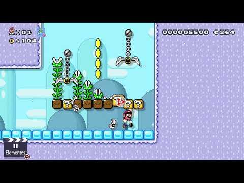 Super Mario Maker 2 -  Nivel de Can-celín - Fuga entre garras oscilantes