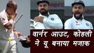 India vs Australia : Virat Kohli mocks David Warner, Jadeja claims Warner's wicket| वनइंडिया हिन्दी