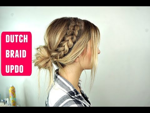 Dutch Braid Messy Bun Updo Perfect for Long Hair
