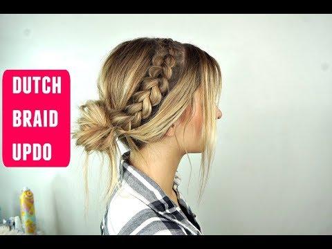 Dutch Braid Messy Bun Updo Perfect for Long Hair