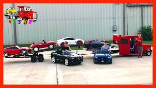 Kruz Loading and Hauling Powered Ride on Cars with His Cousins
