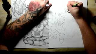 Drawing Ideas: Dragon Ball Z; Goku,Gohan,Krillin, and Shemron! Bluddy Pencil Style!