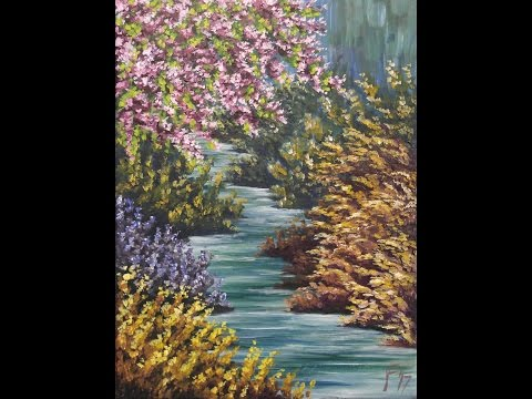Impressionist Spring Creek Step by Step Acrylic Painting on Canvas for Beginners