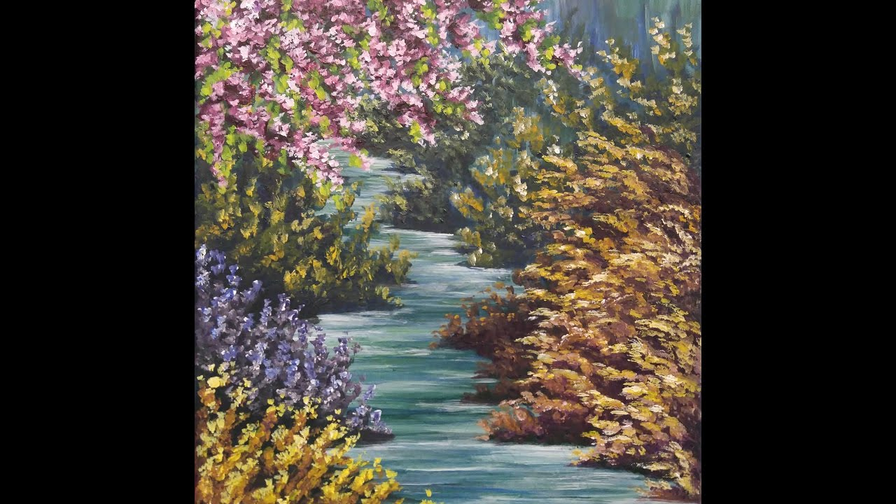 Impressionist spring creek step by step acrylic painting for Step by step acrylic painting flowers for beginners