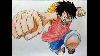 Drawing Monkey D. Luffy in Gomu-Gomu No Pistol [ One Piece ]I(speed draw)