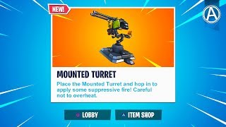 """NEW """"MOUNTED TURRET"""" in Fortnite Battle Royale (Fortnite Weapon Update)"""