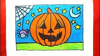 Vẽ tranh Halloween dễ nhất  - Vẽ tranh quả bí ngô Halloween - How to draw halloween 2020