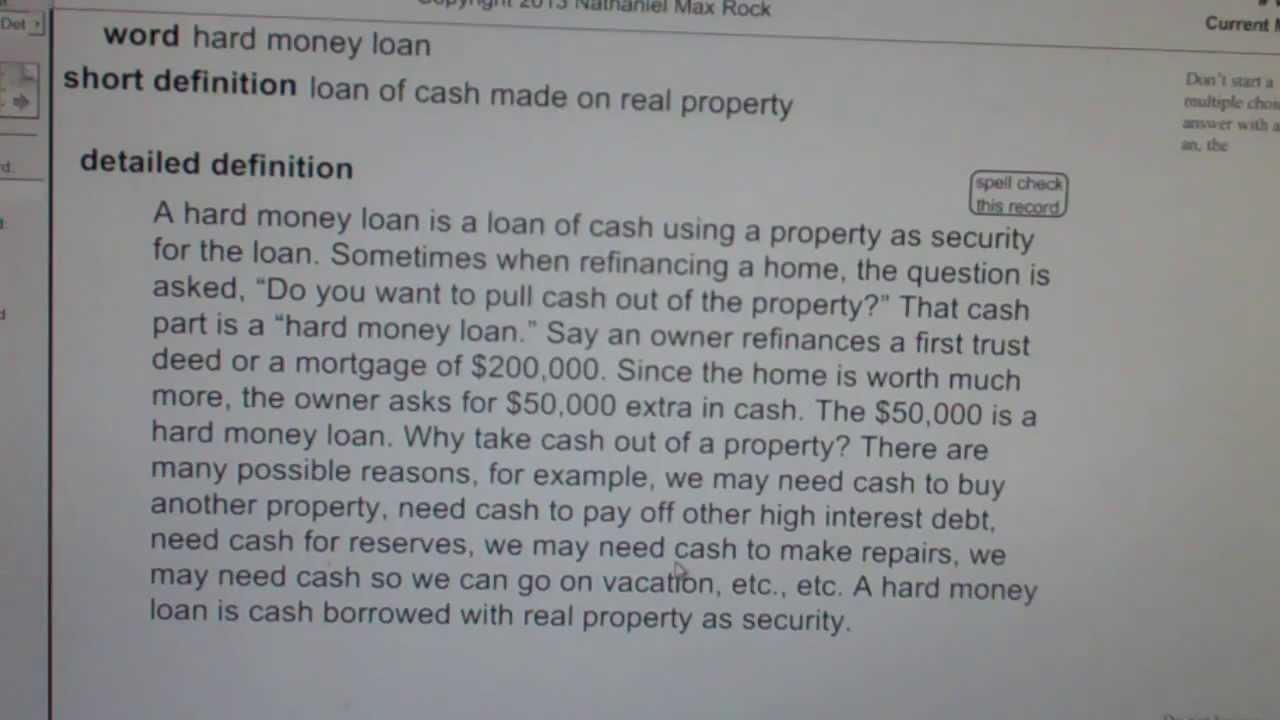 hard money loan ca real estate license exam top pass words vocabubee