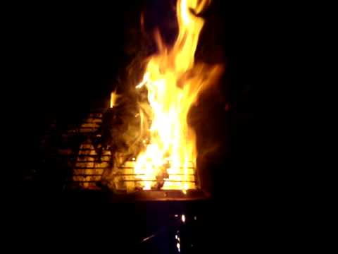 Fish on fire on grill