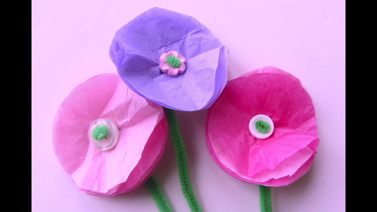 Amazing Tissue Paper Craft Ideas For Kids Part - 13: How To Make Simple Tissue Paper Flowers Easy Craft Flower Project