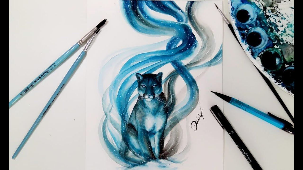 591806eb75d4b Speed Drawing - MOUNTAIN LION 【Aquarela /Watercolor Speedpaint】