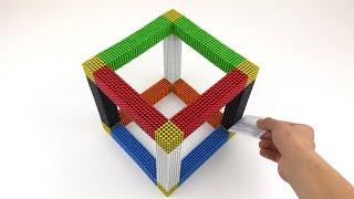 Oddly Satisfying 15,000 Magnetic Balls | ASMR Rainbow Cube