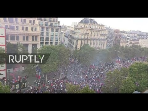 LIVE: Football fans celebrate at Champs Elysees after France win World Cup