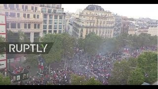 LIVE: Football fans celebrate at Champs Elysees after France win World Cup thumbnail