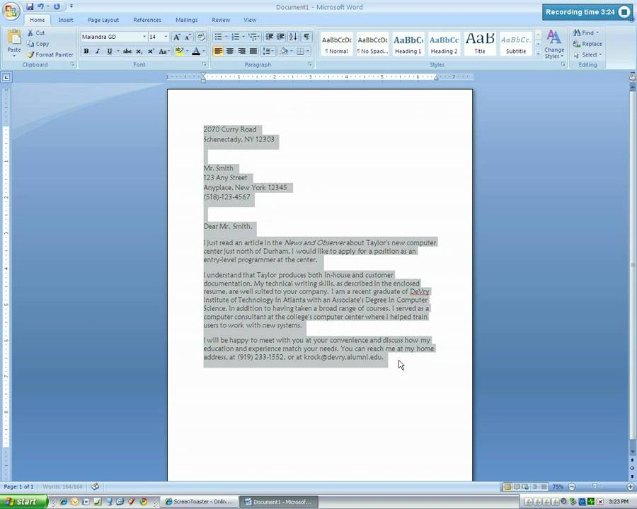 Microsoft Word 2007 Business Letter Tutorial Mp4 Youtube