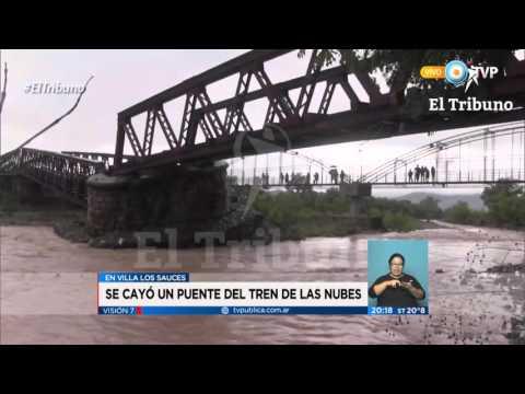 (video) SALTA: POR COPIOSAS LLUVIAS SE DERRUMBÓ UN PUENTE DEL TREN A LAS NUBES