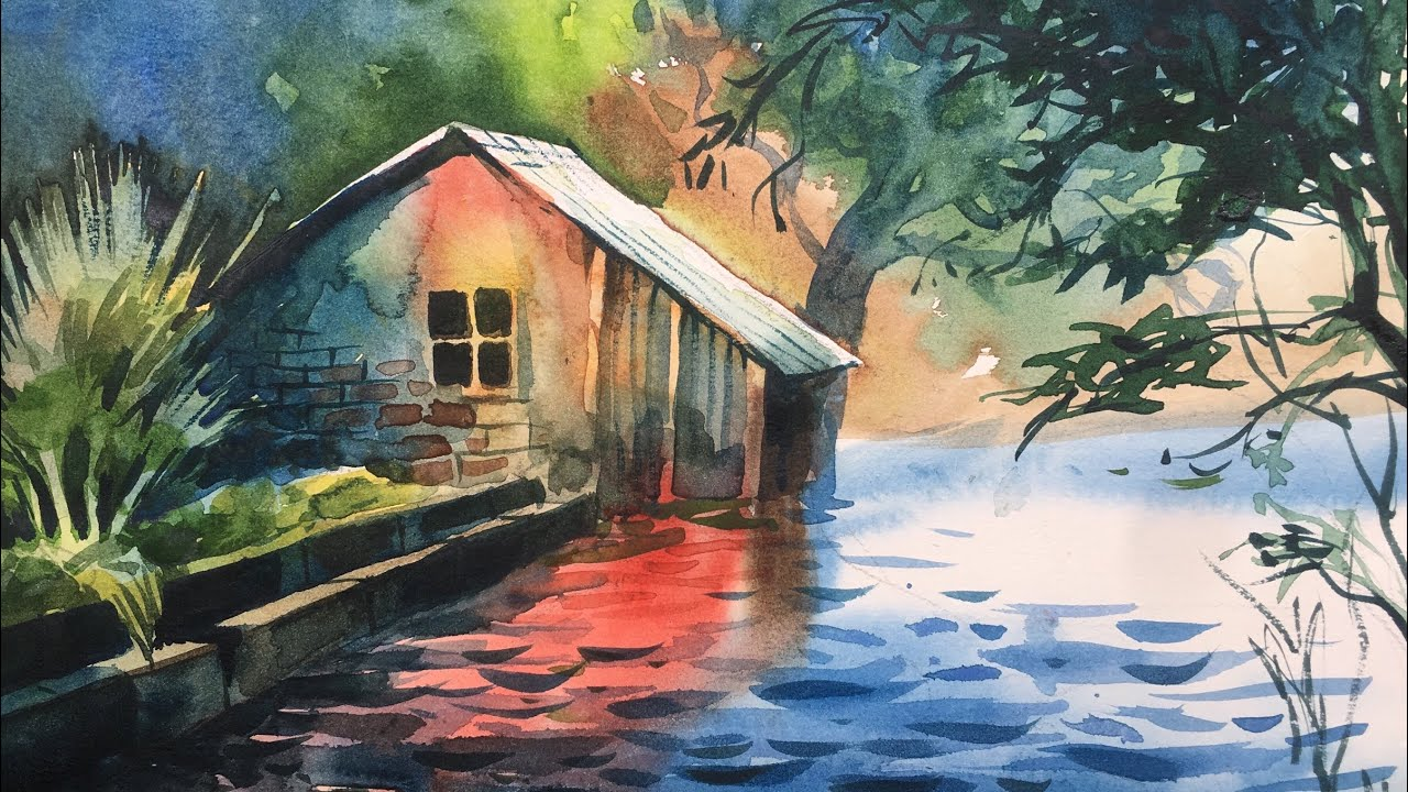 Watercolor Painting On Cartridge Paper Of A Beautiful Cottage Near Lake