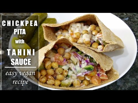 Easy & Delicious Vegan Recipe | Toasted Chickpea Pita with Tahini Sauce