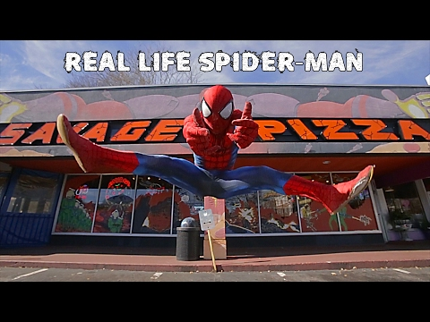 Real Life SPIDER-MAN flips and tricks through city!!!
