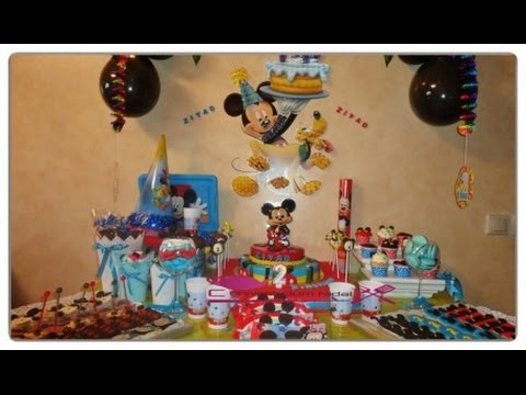 buffet anniversaire theme mickey mouse youtube. Black Bedroom Furniture Sets. Home Design Ideas