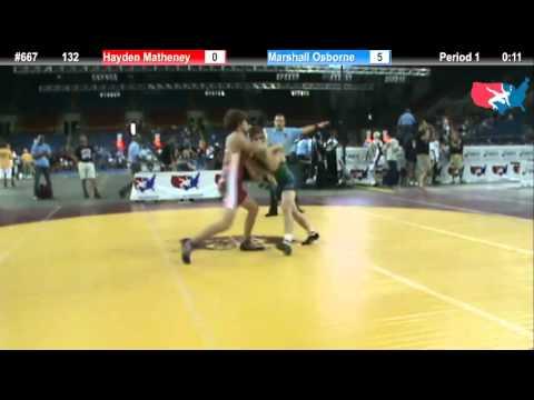Fargo 2012 132 Round 2: Hayden Matheney (Ohio) vs. Marshall Osborne (Missouri)