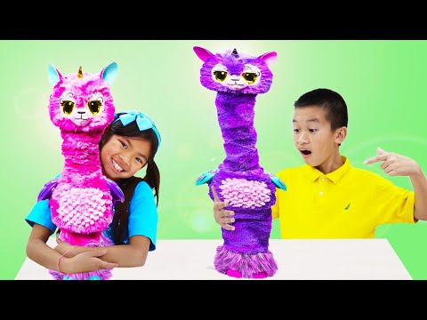 Emma and Andrew Pretend Play with Hatchimals Lalacorn Surprise Egg Toy