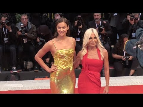 Irina Shayk and Donatella Versace on the red carpet for the Premiere of A Star is Born at the Venice