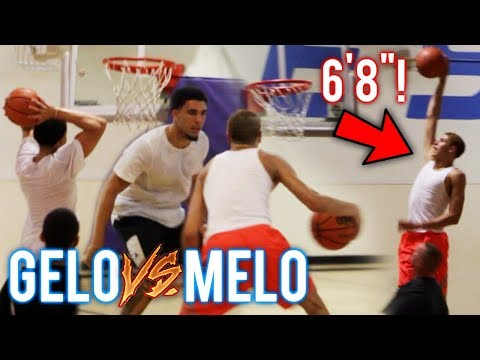 "LAMELO BALL 6'7"" NOW!? LiAngelo Ball VS MELO CRAZY BOUNCE! BOTH NBA READY?? JBA CHAMPS!"
