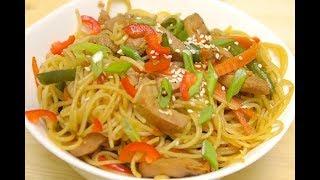 Китайская лапша WOK// Лапша Вок// Рецепт лапши с мясом и овощами// Стеклянная лапша