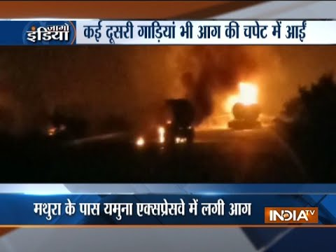 Gas tanker catches fire at Yamuna expressway