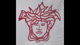 DIY - Versace head design with two lion sewing machine