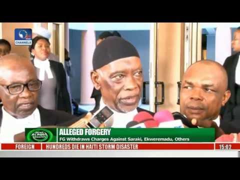 News Across Nigeria FG Withdraws Charges Against Saraki, Ekweremadu, Others