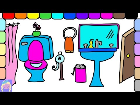 Learn How To Draw And Color A Bathroom | Easy Drawing And Coloring For Kids | Fun Learning Video